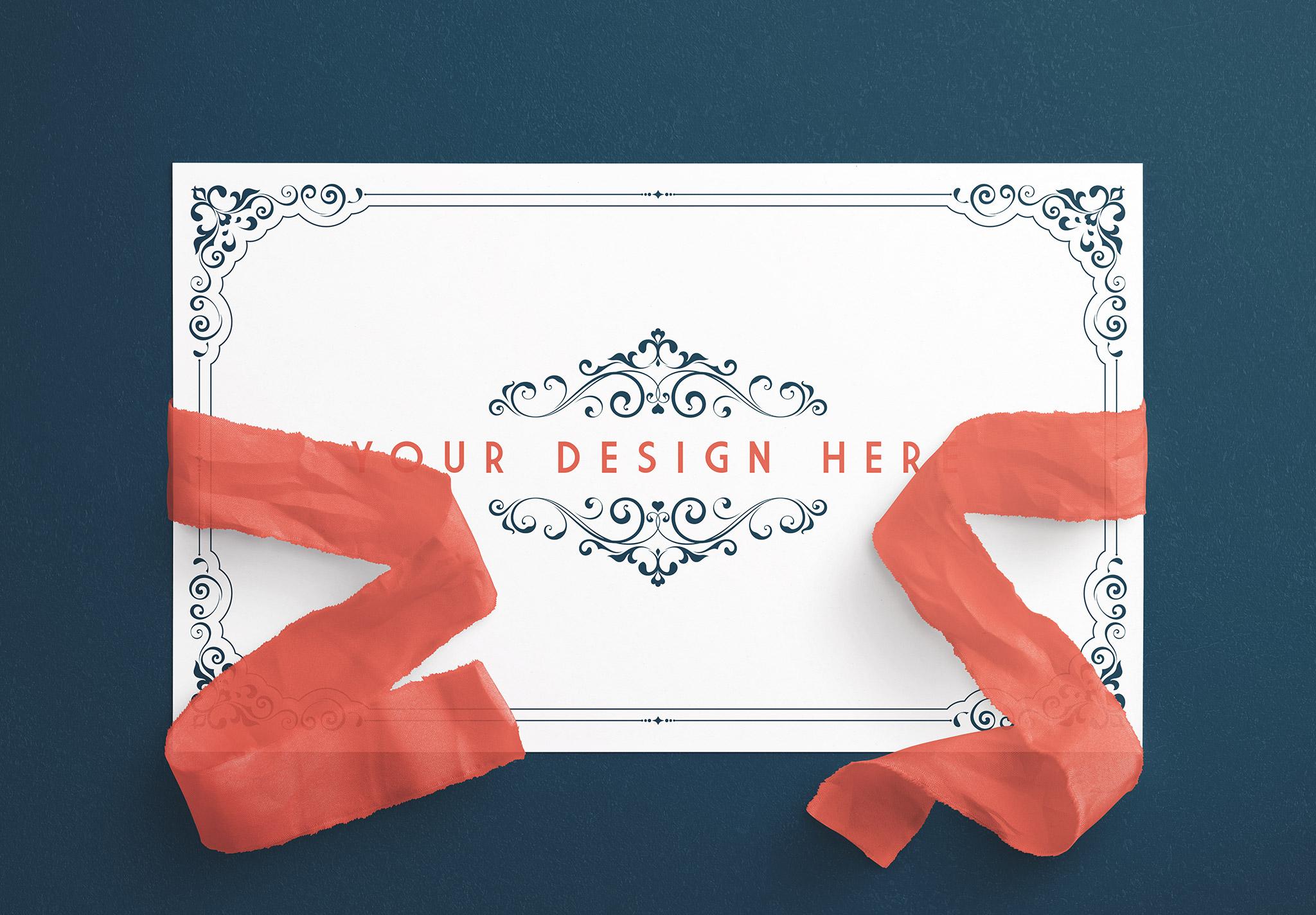 Card With Ribbons Mockup 4 image01