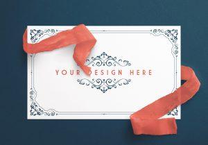 Card With Ribbons Mockup 5 image01