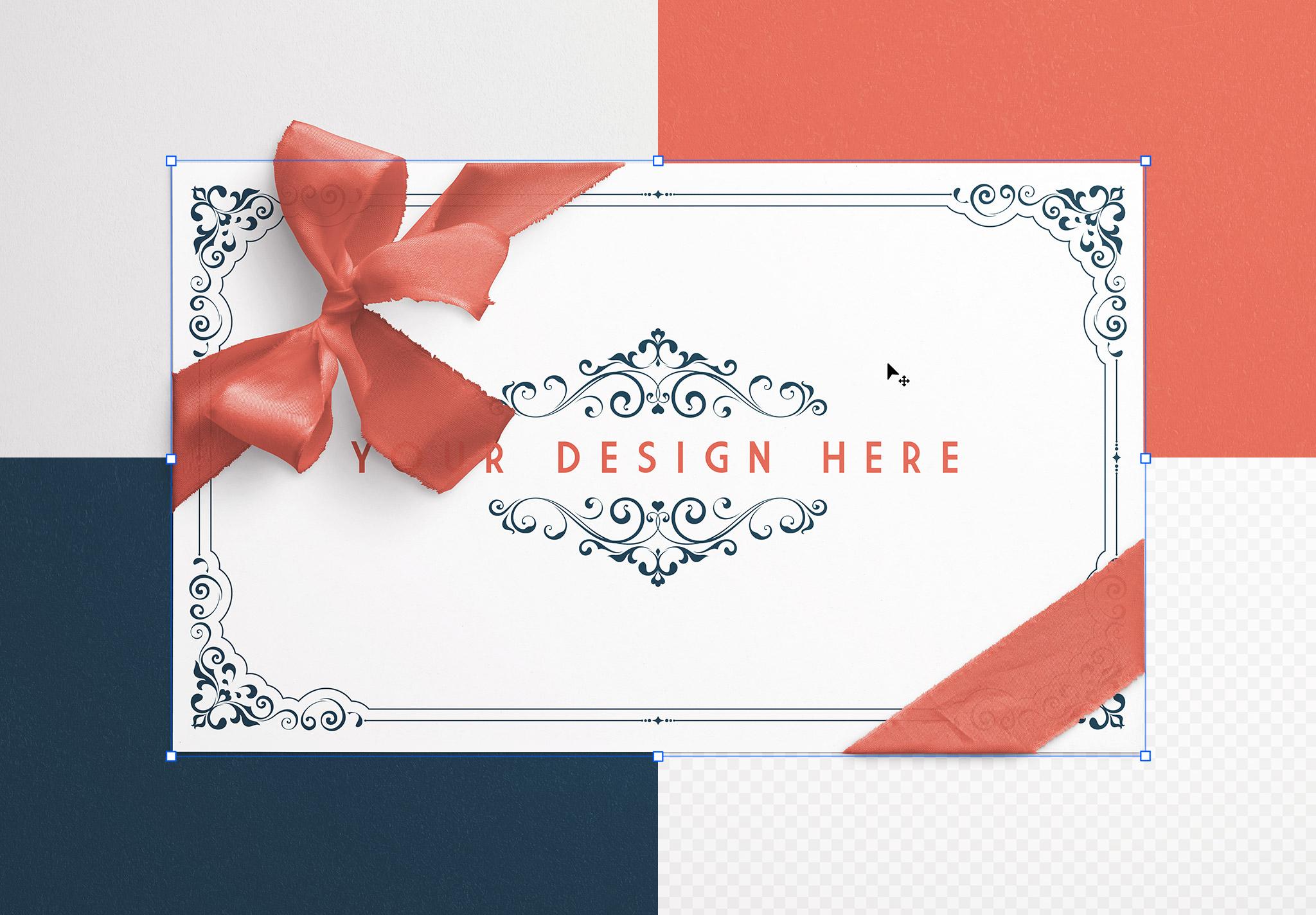 Card With Ribbons Mockup 7 image02