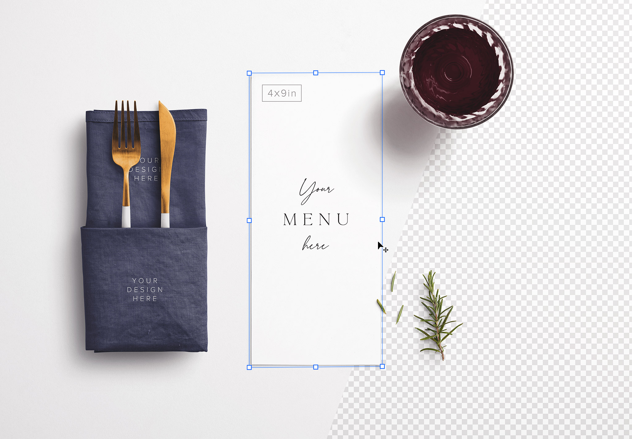 Table 4x9in Menu with Cutleries Napkin Drink and Herbs image01