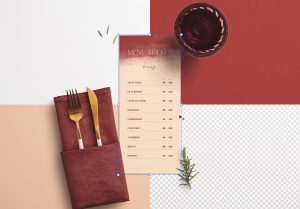 Table 4x9in Menu with Cutleries Napkin Drink and Herbs image02