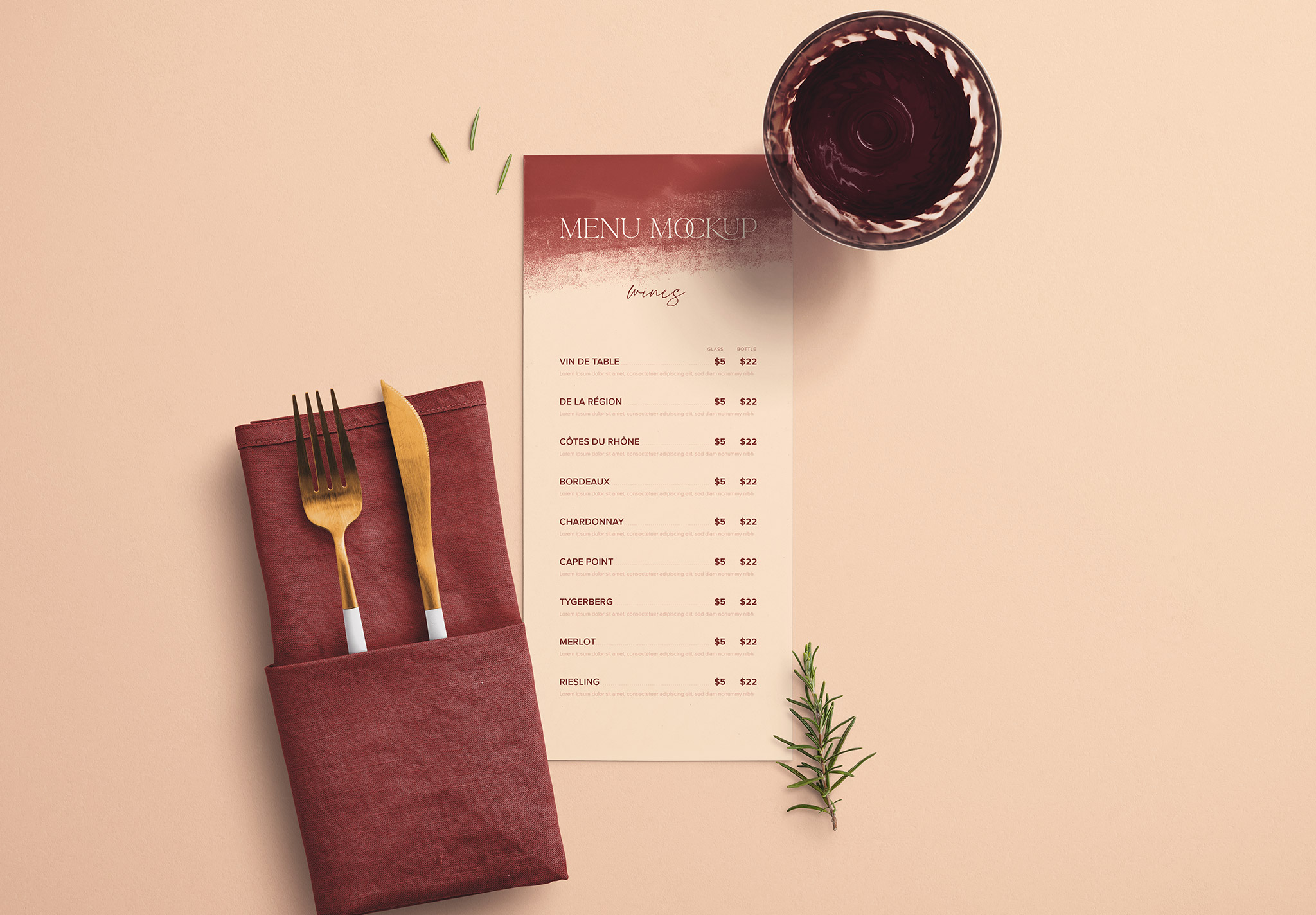 Table 4x9in Menu with Cutleries Napkin Drink and Herbs image03