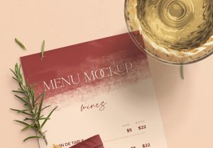 Table 4x9in Menu with Cutleries Napkin Drink and Herbs image04