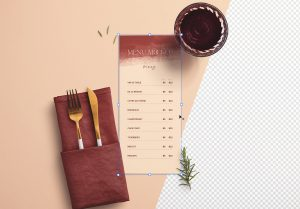 Table 4x9in Menu with Cutleries Napkin Drink and Herbs thumbnail 1