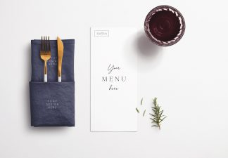Table 4x9in Menu with Cutleries Napkin Drink and Herbs thumbnail