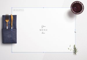Table A3 Menu with Cutleries Napkin Drink and Herbs image01
