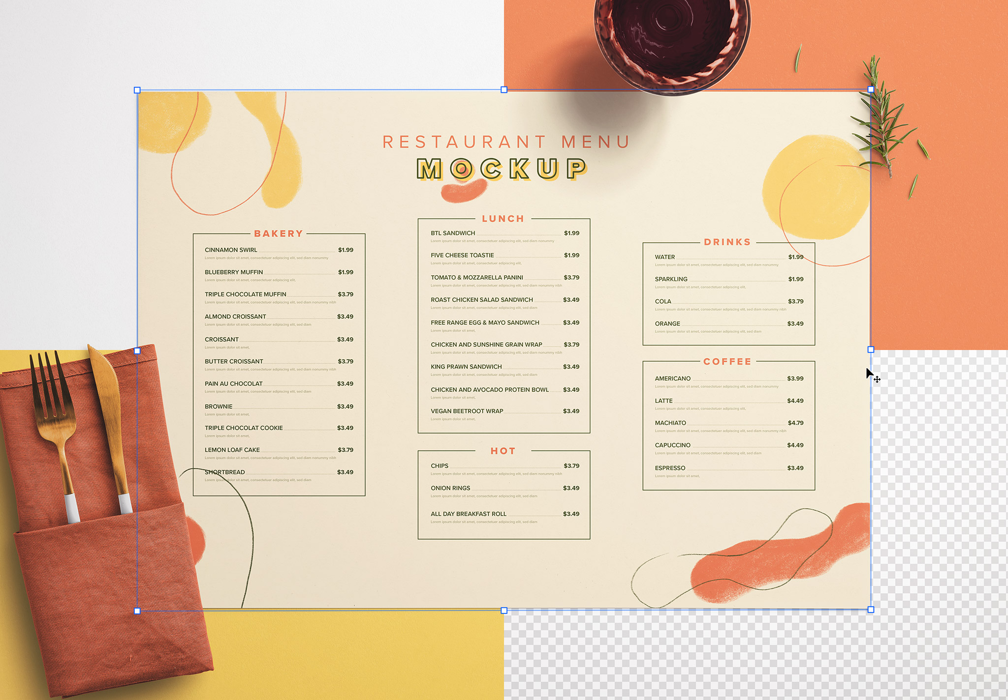 Table A3 Menu with Cutleries Napkin Drink and Herbs image02