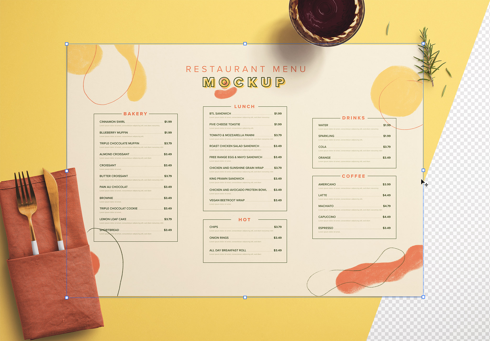 Table A3 Menu with Cutleries Napkin Drink and Herbs thumbnail 1