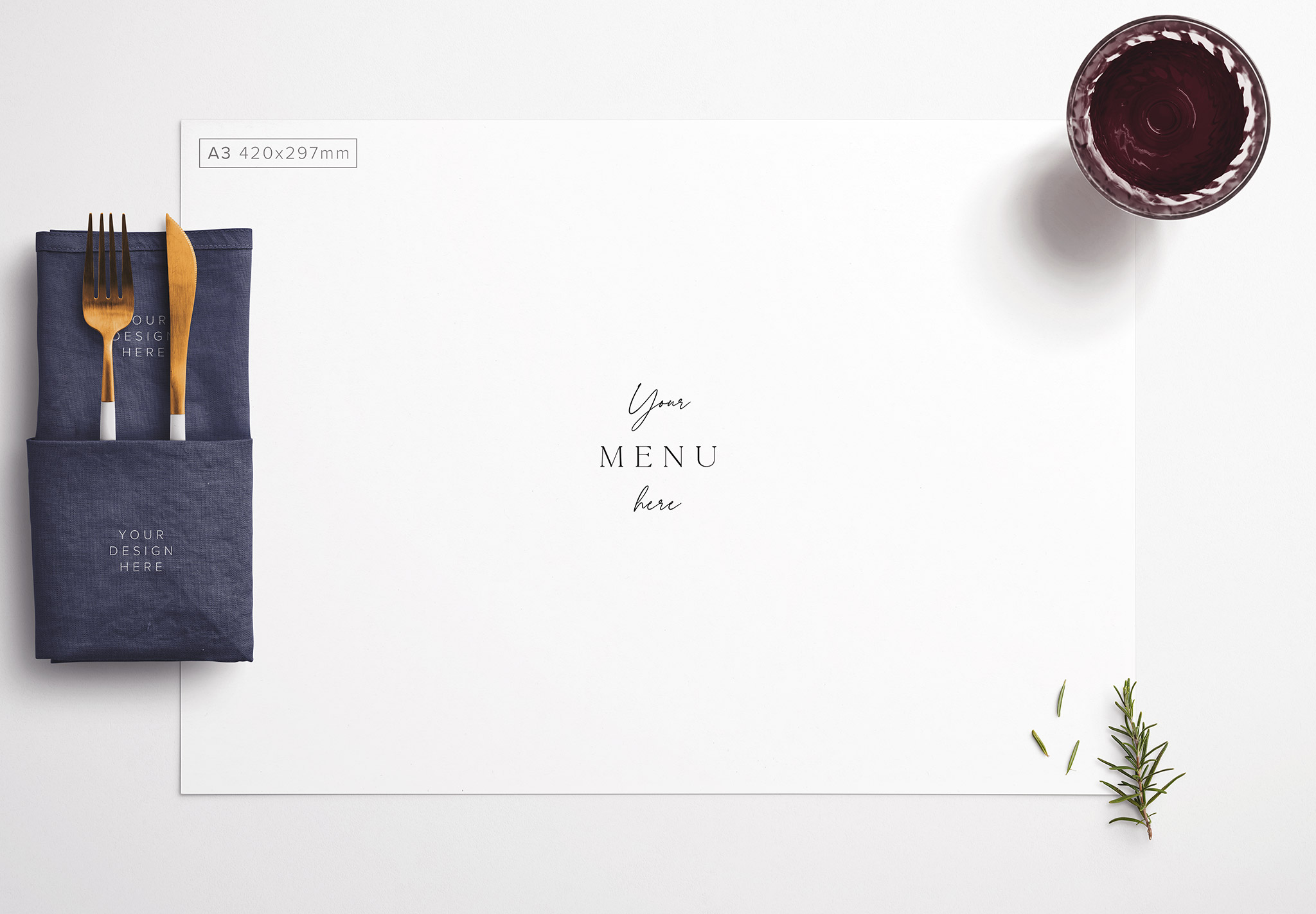 Table A3 Menu with Cutleries Napkin Drink and Herbs thumbnail