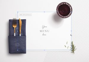 Table A4 Menu with Cutleries Napkin Drink and Herbs image01