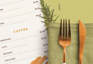 Table A4 Menu with Cutleries Napkin Drink and Herbs image03