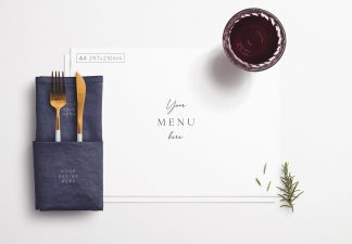 Table A4 Menu with Cutleries Napkin Drink and Herbs thumbnail