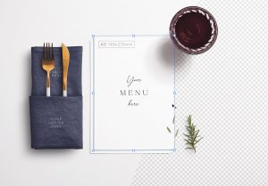 Table A5 Menu with Cutleries Napkin Drink and Herbs image01