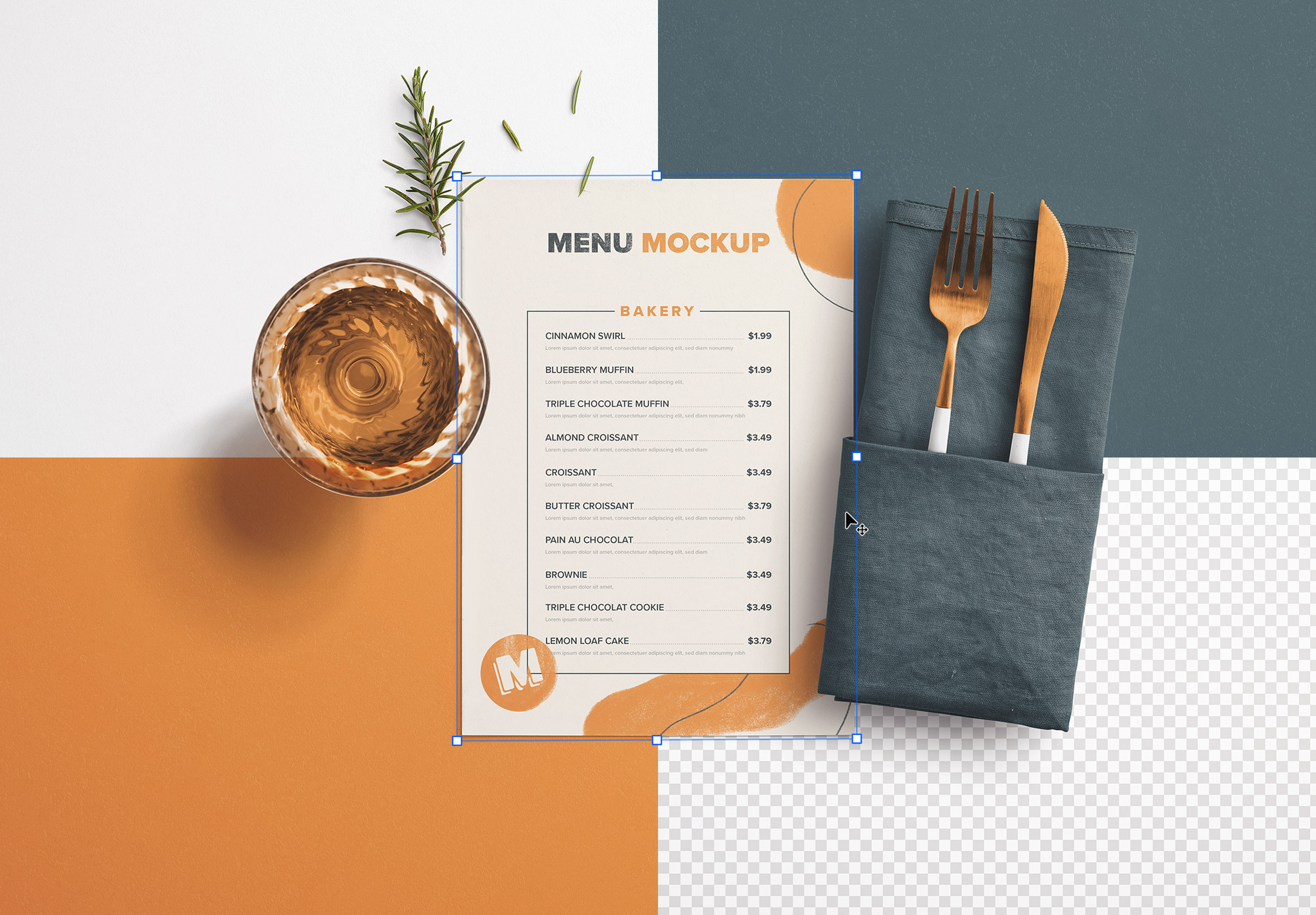 Table A5 Menu with Cutleries Napkin Drink and Herbs image02