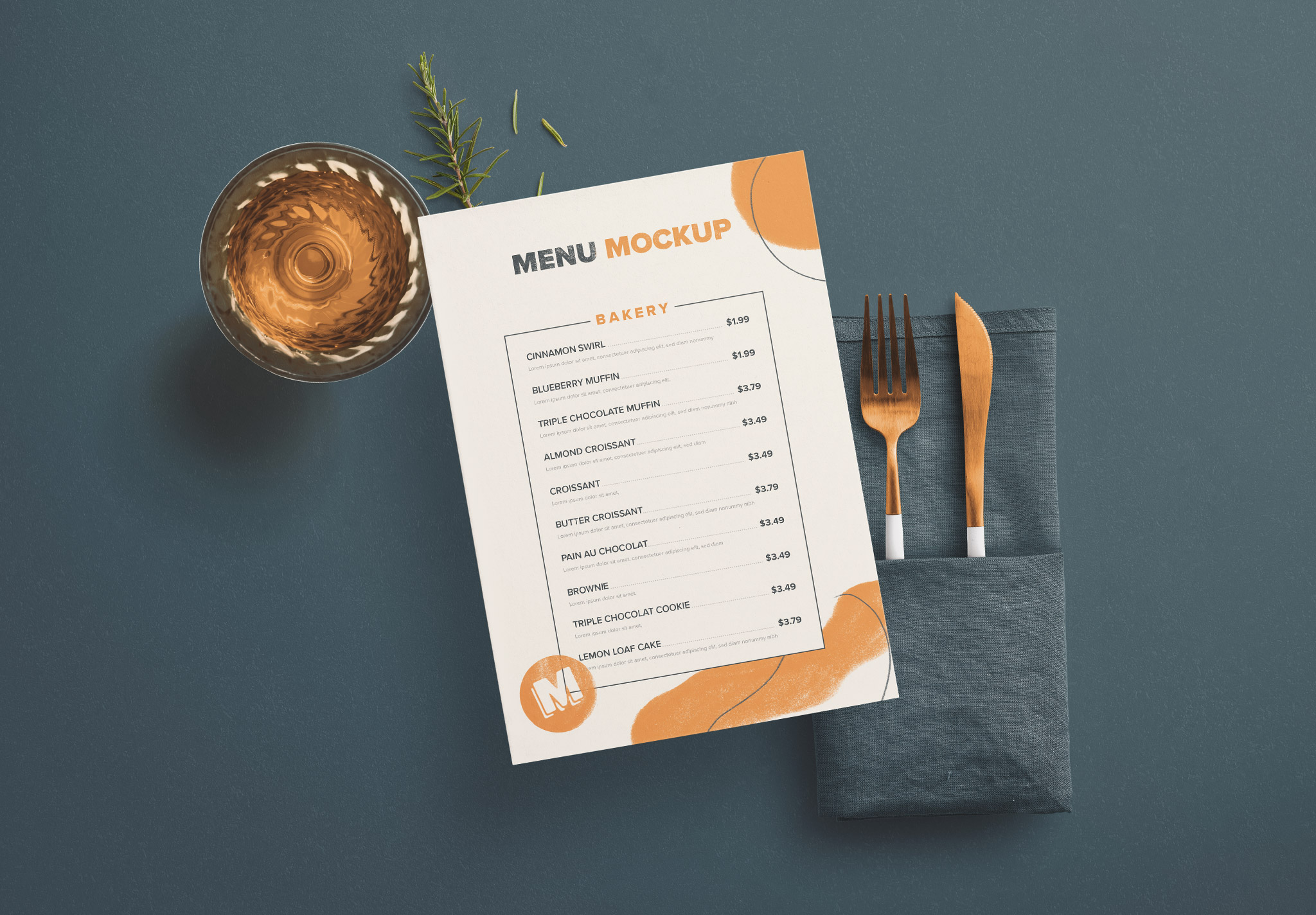 Table A5 Menu with Cutleries Napkin Drink and Herbs image03
