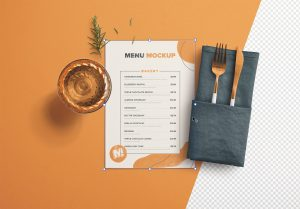 Table A5 Menu with Cutleries Napkin Drink and Herbs thumbnail 1