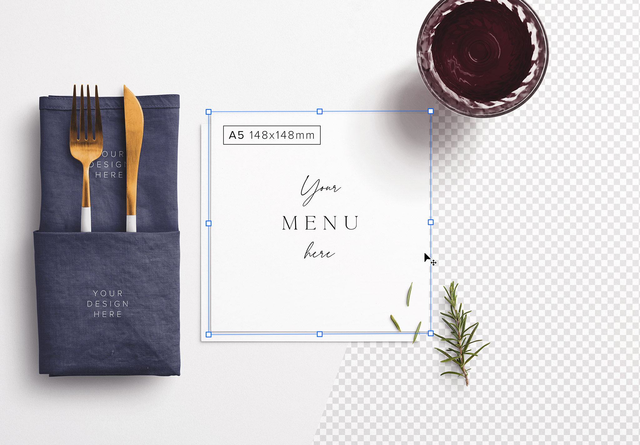 Table A5 Square Menu with Cutleries Napkin Drink and Herbs image01