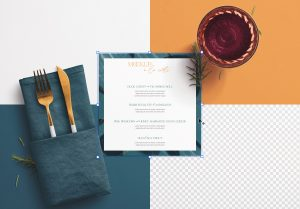 Table A5 Square Menu with Cutleries Napkin Drink and Herbs image02