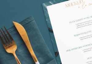 Table A5 Square Menu with Cutleries Napkin Drink and Herbs image04