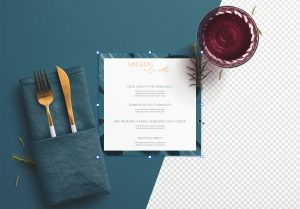 Table A5 Square Menu with Cutleries Napkin Drink and Herbs thumbnail 1
