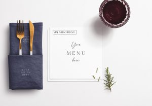 Table A5 Square Menu with Cutleries Napkin Drink and Herbs thumbnail