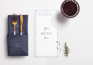 Table DL Menu with Cutleries Napkin Drink and Herbs image01