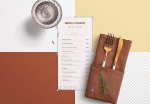 Table DL Menu with Cutleries Napkin Drink and Herbs image02