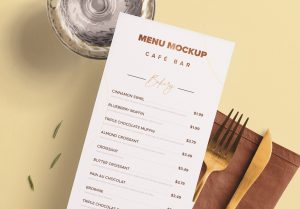 Table DL Menu with Cutleries Napkin Drink and Herbs image03