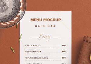 Table DL Menu with Cutleries Napkin Drink and Herbs image04