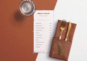 Table DL Menu with Cutleries Napkin Drink and Herbs thumbnail 1