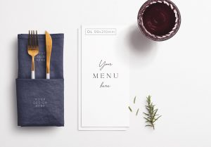 Table DL Menu with Cutleries Napkin Drink and Herbs thumbnail