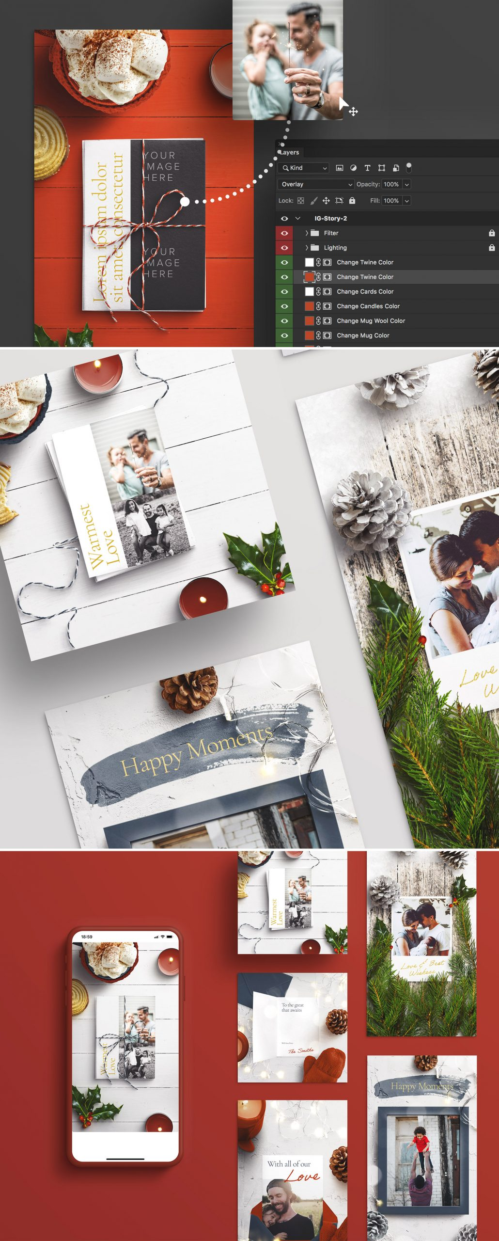 light and bright mockup social media card preview