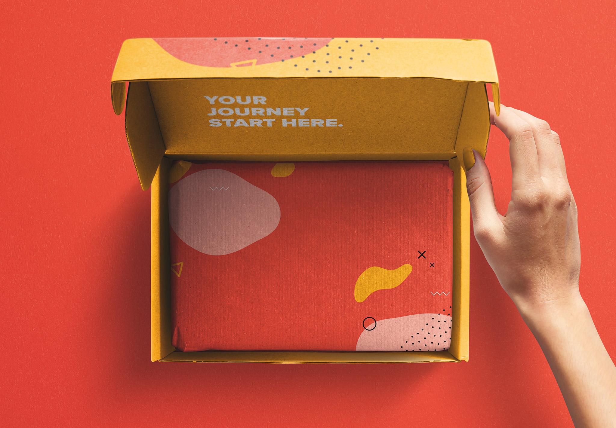 Hand Holding Opened Postal Box Lid Mockup image01