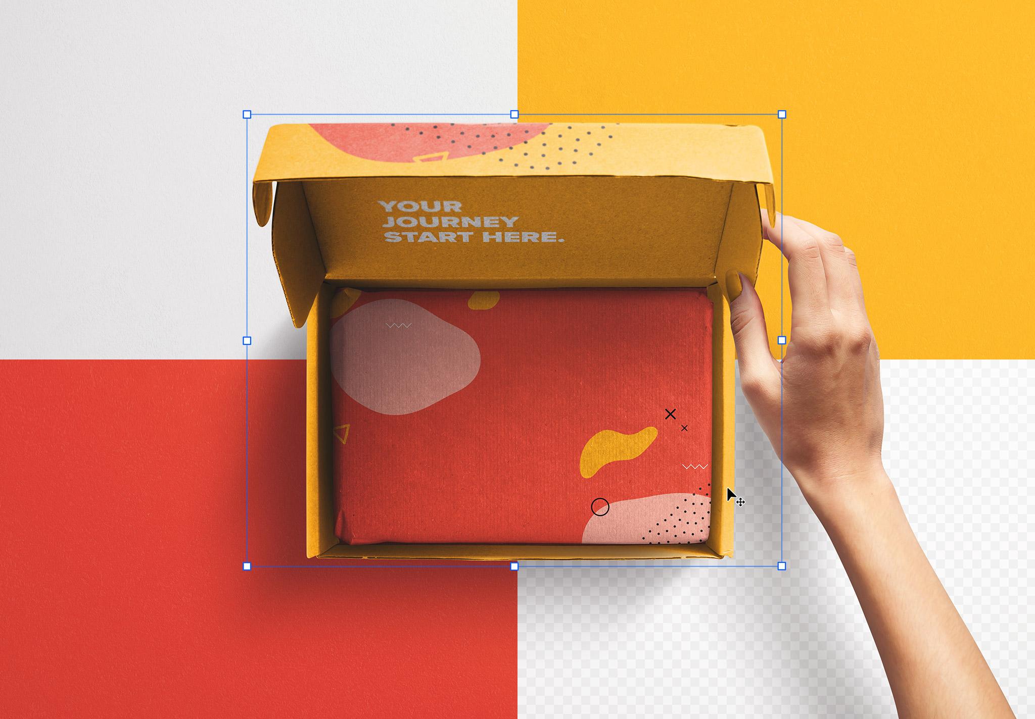 Hand Holding Opened Postal Box Lid Mockup image02