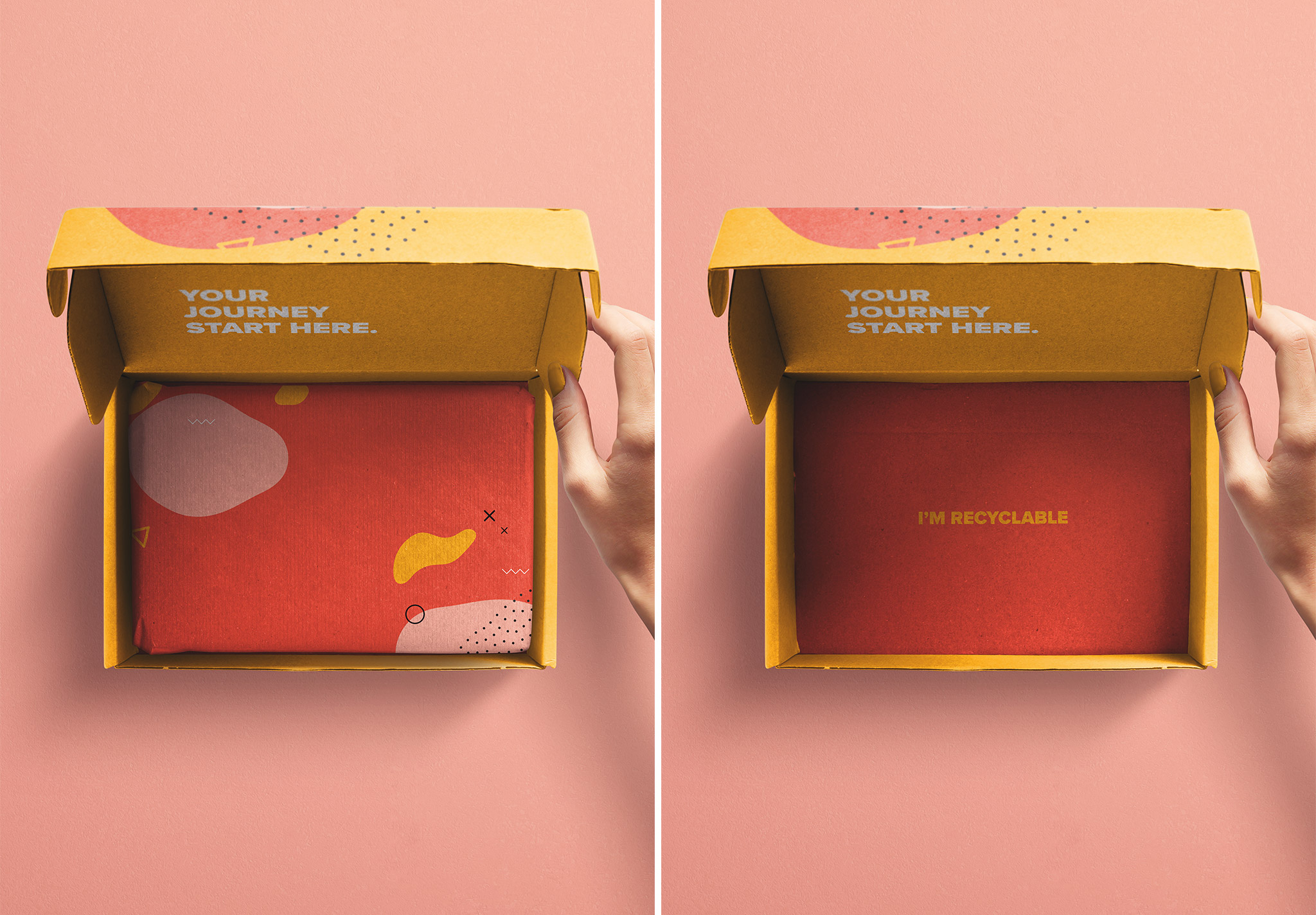 Hand Holding Opened Postal Box Lid Mockup image03