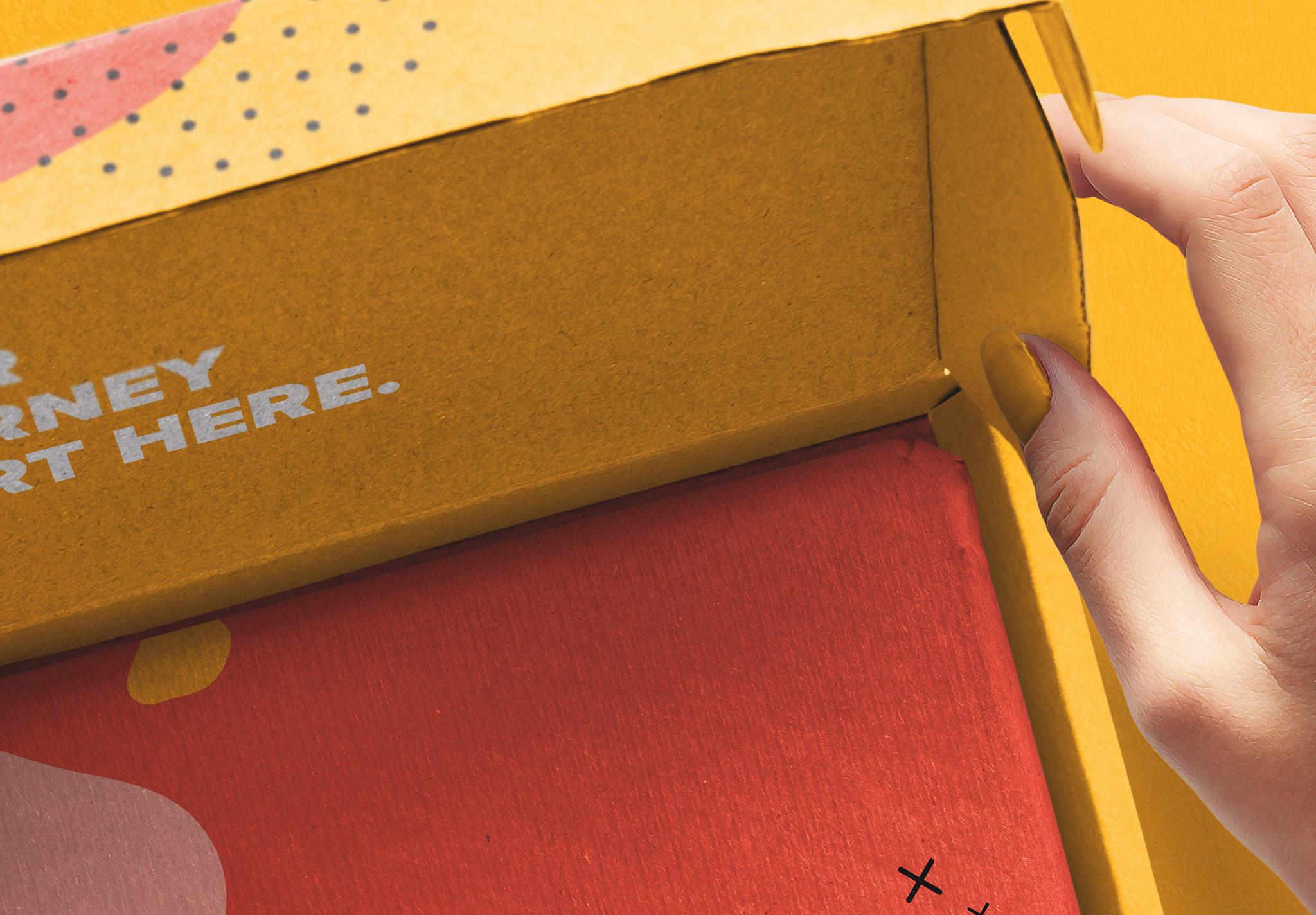 Hand Holding Opened Postal Box Lid Mockup image04