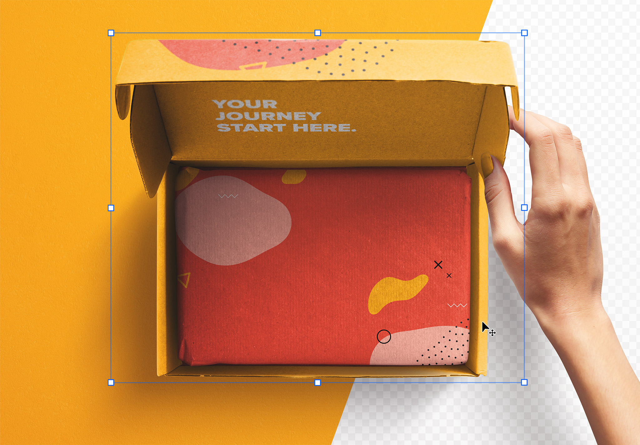 Hand Holding Opened Postal Box Lid Mockup thumbnail 2