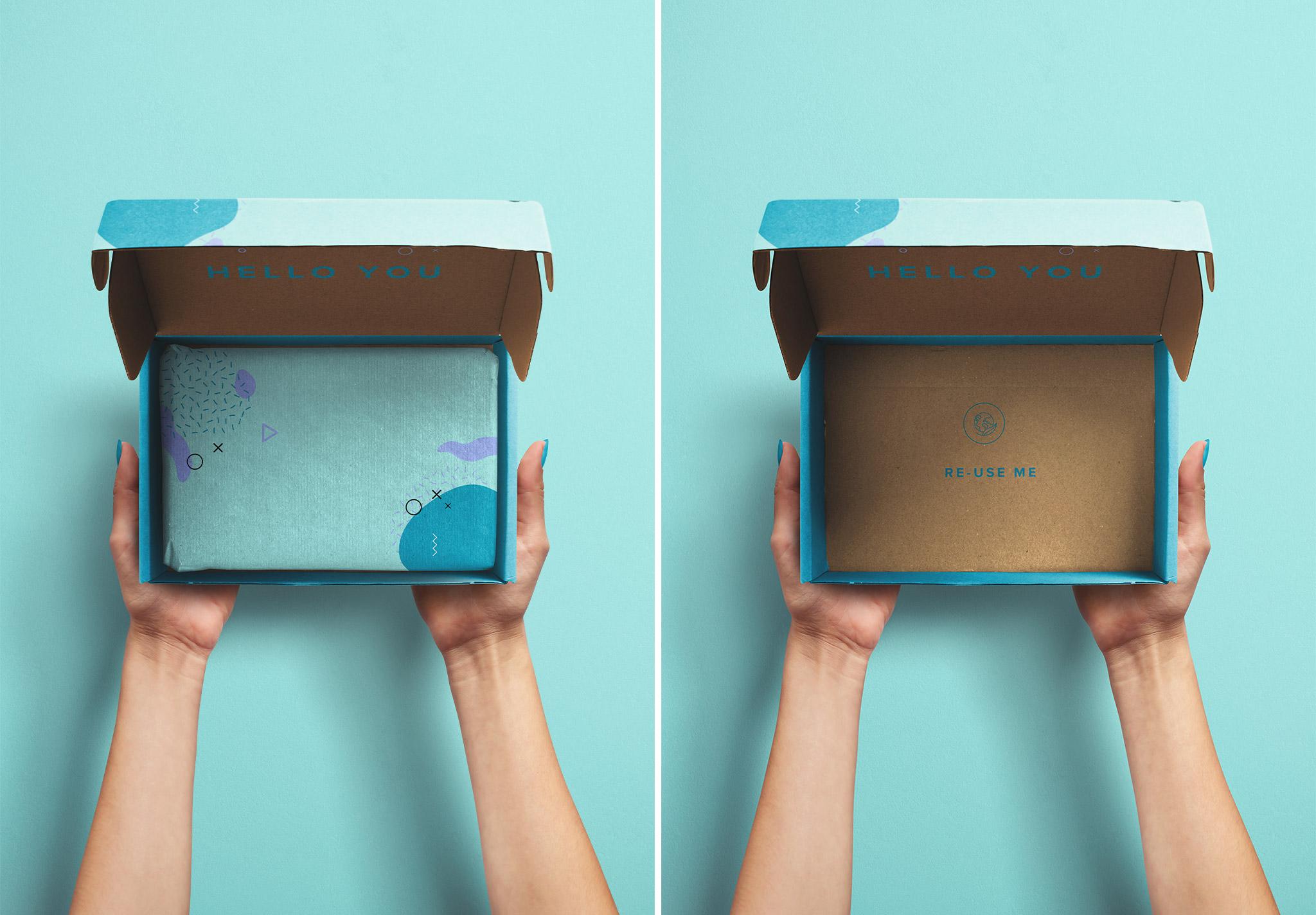 Hands Holding Opened Postal Box Mockup image03