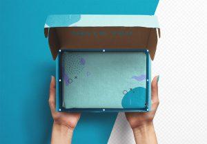 Hands Holding Opened Postal Box Mockup thumbnail 2