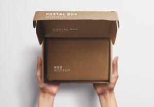 Hands Holding Opened Postal Box Mockup thumbnail