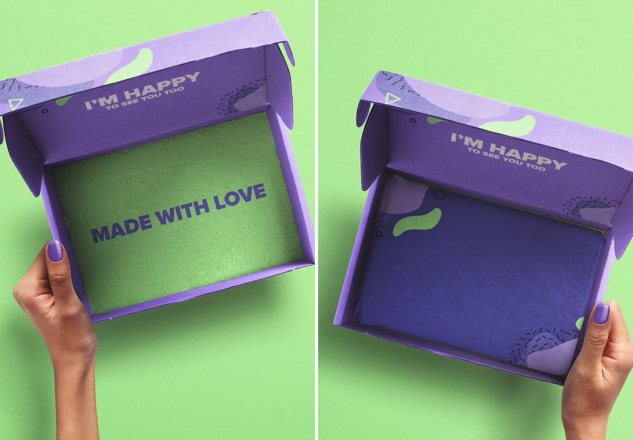 Hands Holding Opened Postal Box Mockup 2 image03
