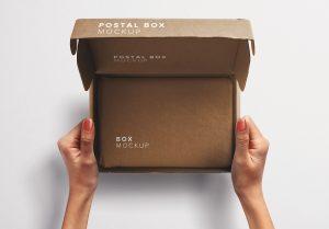 Hands Holding Opened Postal Box Mockup 2 thumbnail