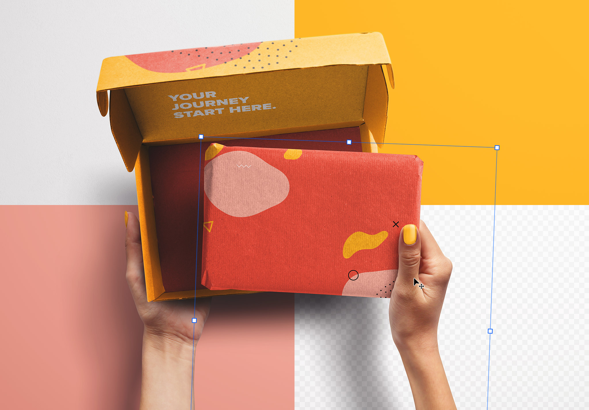 Hands Holding Opened Postal Box and Package Mockup image02