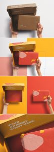 Hands Holding Opened Postal Box and Package Mockup preview scaled