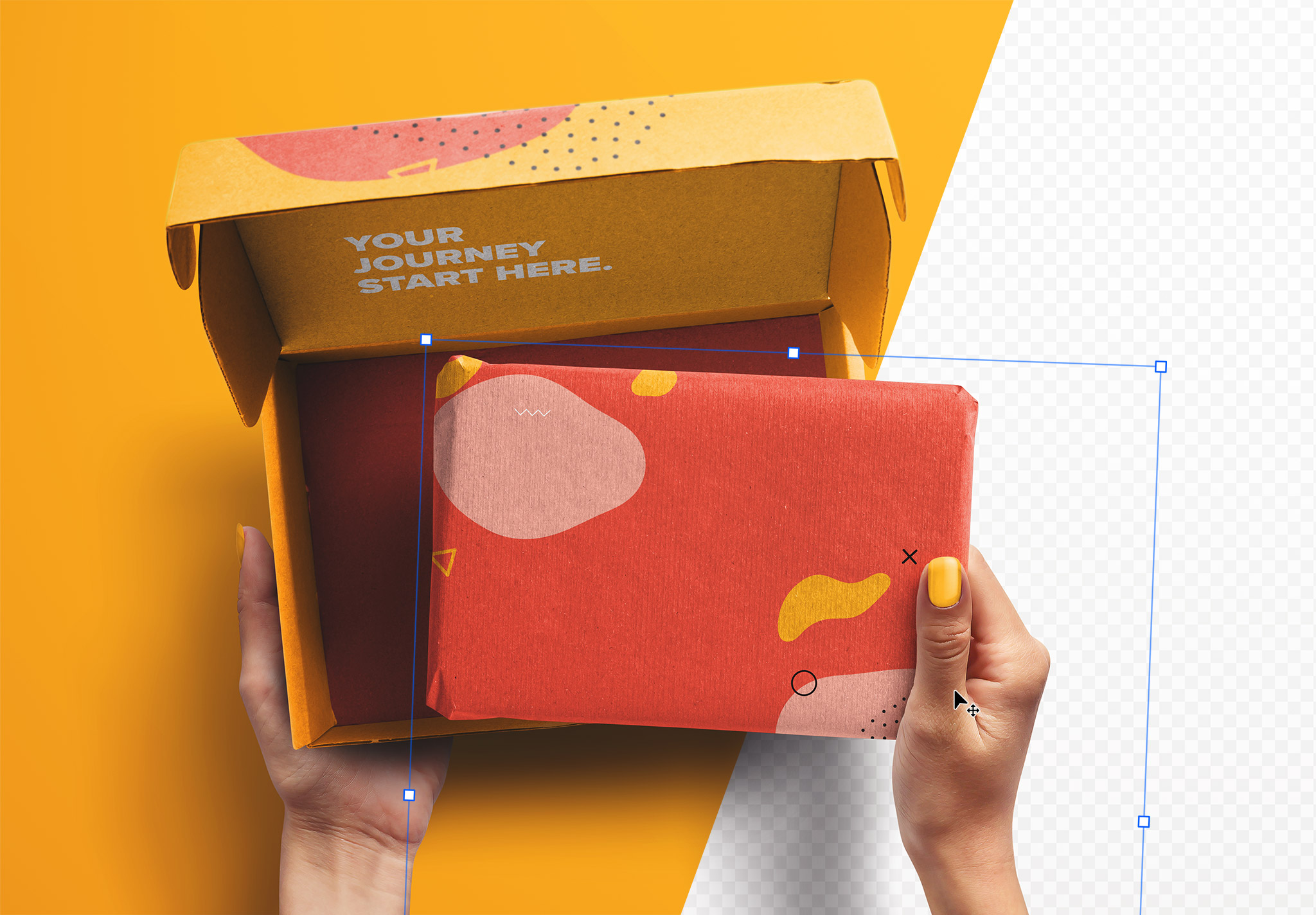 Hands Holding Opened Postal Box and Package Mockup thumbnail 2