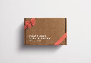 Postal Box with Bow and Ribbons Mockup thumbnail