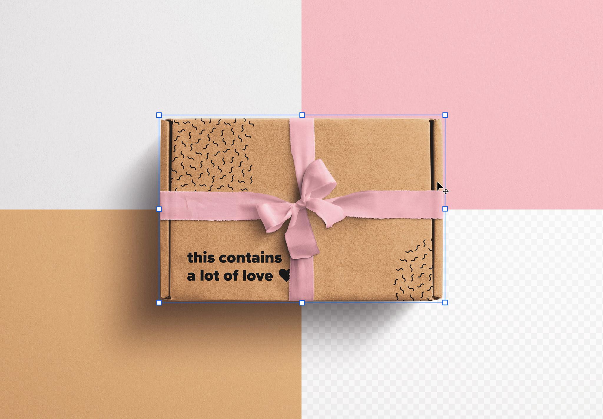 Postal Box with Bow and Ribbons Mockup 2 image02