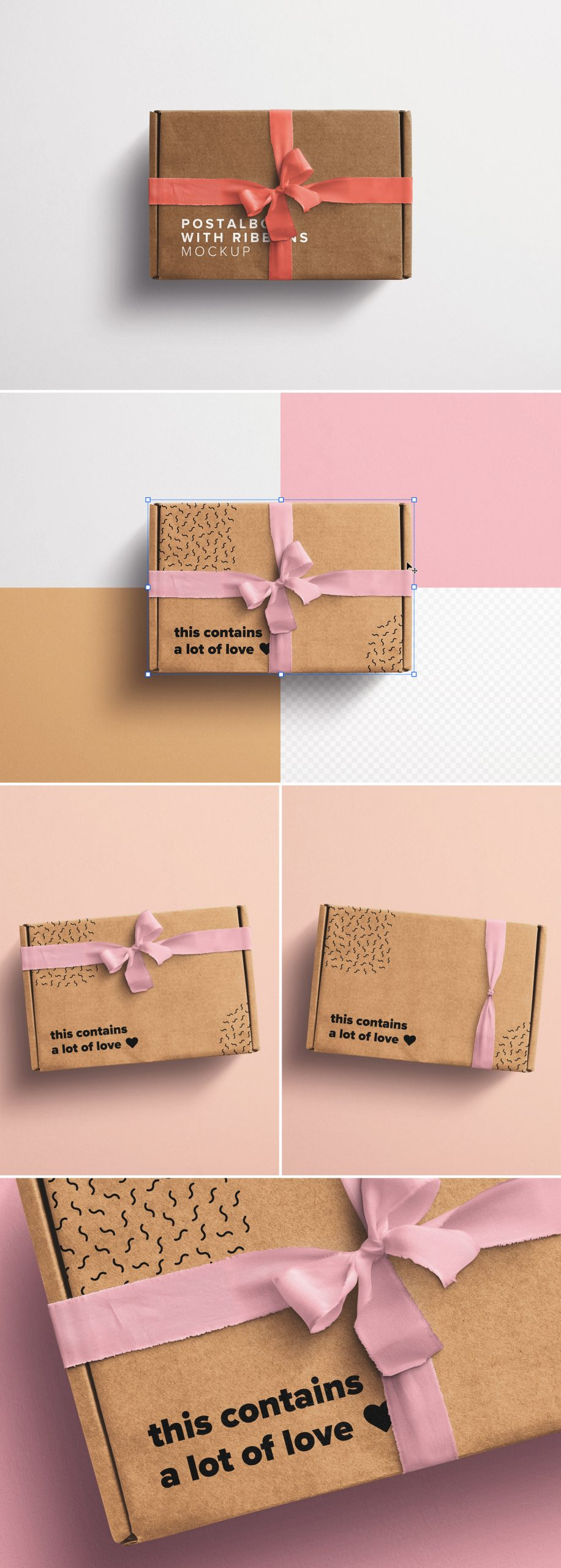 Postal Box with Bow and Ribbons Mockup 2 preview scaled