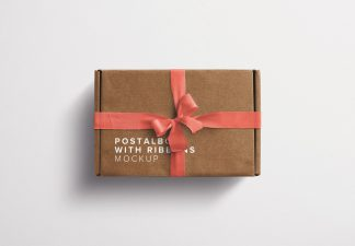 Postal Box with Bow and Ribbons Mockup 2 thumbnail