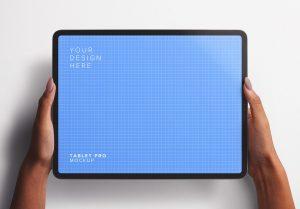 Hands Holding Tablet Pro Mockup Thumbnail